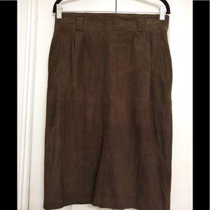 Linda Allred Ellen Tracy Suede Skirt